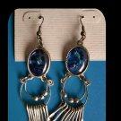 Lapis and Silver Tone Fashion Dangle Pierced Earrings - Free Shipping