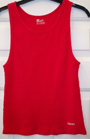 Ribbed Hanes Authentic Cotton Tank Top XL Red