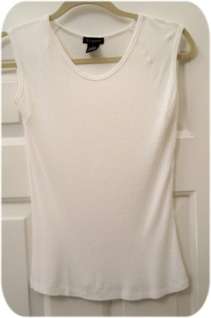 White Rib Soft Cap Sleeve Summer T Shirt FREE SHIP