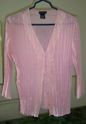 Pink Sheer Sequin & Lace Blouse or Jacket Size Large FREE SHIP