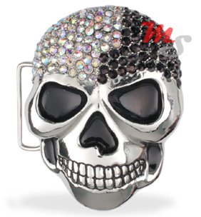 Skull Belt Buckle CZ encrusted Black and White
