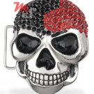 Skull Belt Buckle CZ encrusted Black and Red