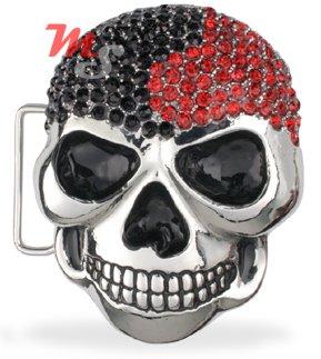 Skull Belt Buckle CZ encrusted Black and Red