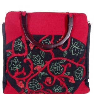 Silk Textured Vines Tote handbag Red