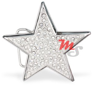 Shiny Silver Star Belt Buckle encrusted With Clear CZ