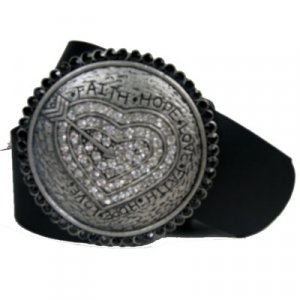 Round Belt Buckle Faith Hope Love Black/Clear CZ
