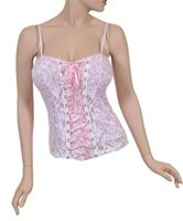 White lace tank with Pink Ribbon Accent