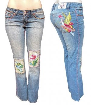 Joy Jeans Embroidered Patched Jeans