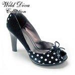 Wild Diva Satin Black with White Polk Dot Peep Toe Pump sz 7 1/2