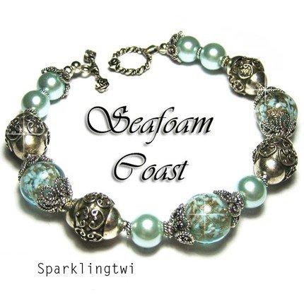 Gorgeous Sterling Silver Bali Seafoam Blue Green Gold Fleck Bracelet, BHV