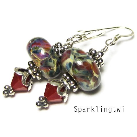 Gorgeous Sterling Silver Red Boro Lampwork Swarovski Crystal Glass Earrings, BHV