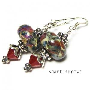 Gorgeous Sterling Silver Red Boro Lampwork Swarovski Crystal Glass Earrings, BHV