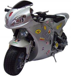Silver X-Treme Scooters XP-490 Rice Rocket Gas Pocket Bike