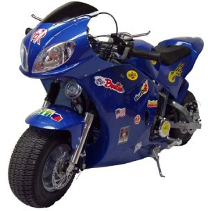 Blue X-Treme Scooters XP-490 Rice Rocket Gas Pocket Bike