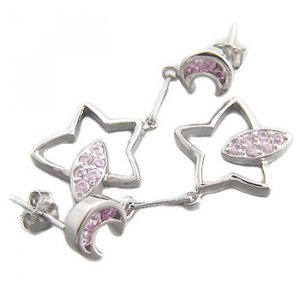925 Sterling Silver With Pink CZ Earring