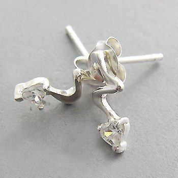 925 Sterling Silver With White CZ Earring