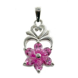 925 Silver With Pink CZ Pendent