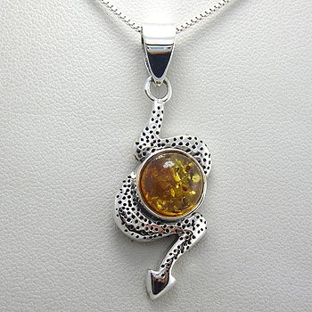 925 Sterling  Silver Amber  Pendent