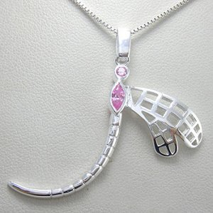 925 Sterling  Silver Pink CZ  Pendent