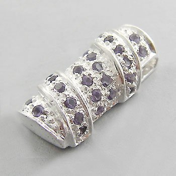925 Sterling Silver With Amethyst CZ Pendant !!