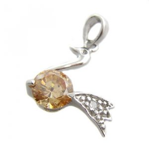 925 Sterling Silver With Citrine & White CZ Pendant