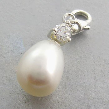 925 Sterling Silver With Genuine Pearl, White CZ Pendant