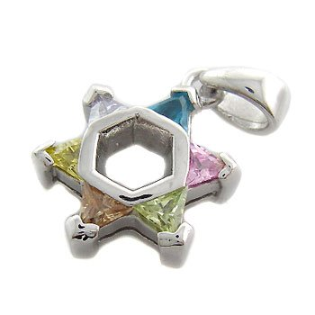 925 Sterling Silver With Multi Color Stone CZ Pendant