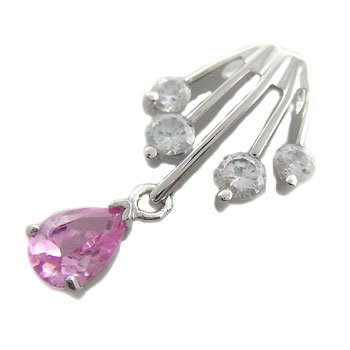 925 Sterling Silver With Pink Sapphire & White CZ Pendant