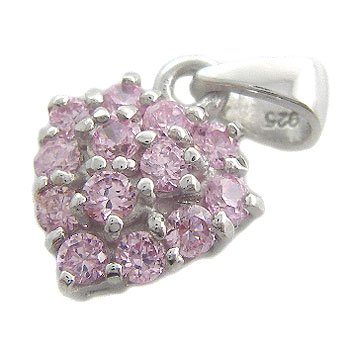 925 Sterling Silver With Pink Sapphire CZ Pendant