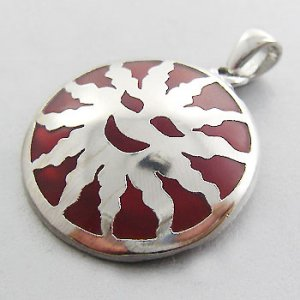 925 Sterling Silver With Red Enamel round sun Pendant