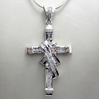 925 Sterling  Silver With White CZ big and heavy Pendant