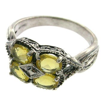 925  Sterling  with Genuine fire opal Silver Ring size 7