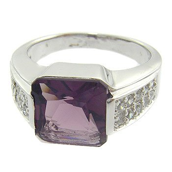 925  Sterling  Silver With Amethyst ,White CZ Ring  7