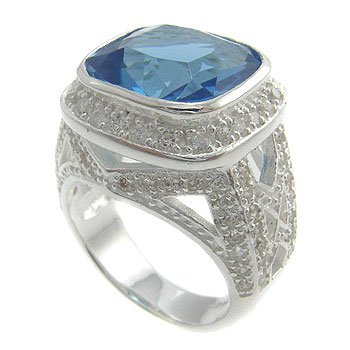 925  Sterling  Silver With Blue Topaz, White CZ Ring size 6