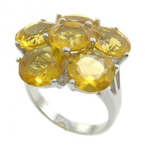 925  Sterling  Silver With Citrine CZ Ring size 7