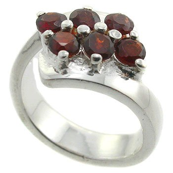 925  Sterling  Silver With Garnet CZ Ring size 9