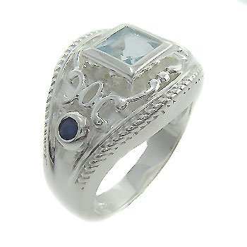 925 Sterling Silver Blue Topaz & Blue Sapphire Ring size 7