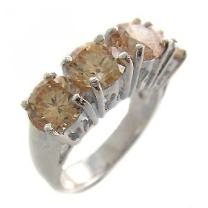 925 Sterling Silver Citrine CZ Ring size 6