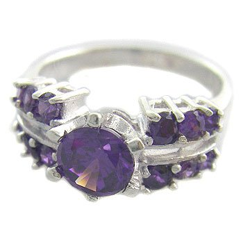 925 Sterling Silver With Amethyst CZ Ring size 7