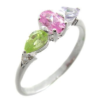 925 Sterling Silver With Multi Color Stone CZ size 8