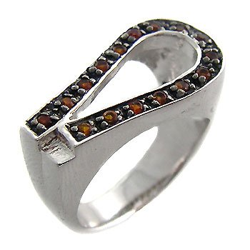 925 Sterling Silver With Orange CZ Ring size 7.5