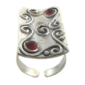 925 Sterling Silver Vintage With Orange Ring size 9