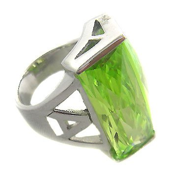 925 Sterling Silver With huge Peridot CZ Ring size 6 16grams