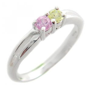 925 Sterling Silver With Pink & Citrine CZ Ring size 7