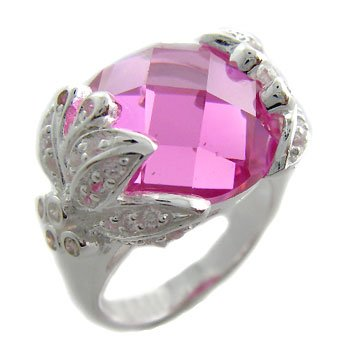 925 Sterling Silver Designer Ring With huge Pink & White CZ 6