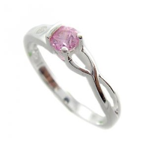 925 Sterling Silver With Pink & White CZ Ring size 8