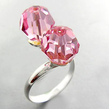 925 Sterling Silver With Pink CZ designer Ring size 8