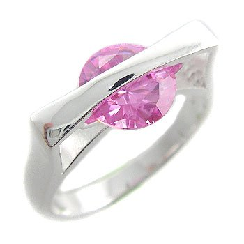 925 Sterling Silver With Pink CZ Ring size 7