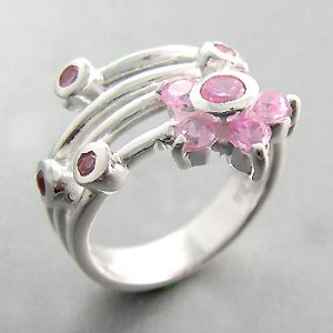 925 Sterling Silver With Pink CZ Ring size 6