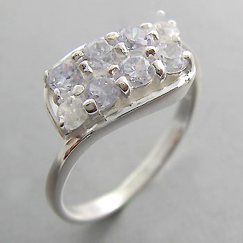 925 Sterling Silver With Tanzanite CZ Ring  size 9